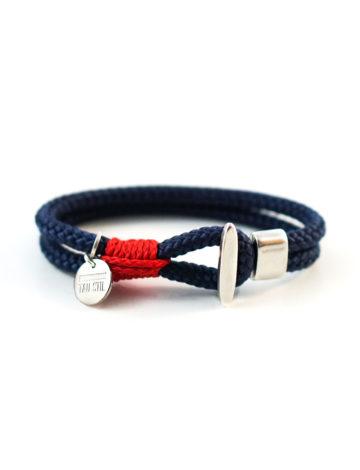 Versilbertes zweifarbiges Armband mit Knebelverschluss
