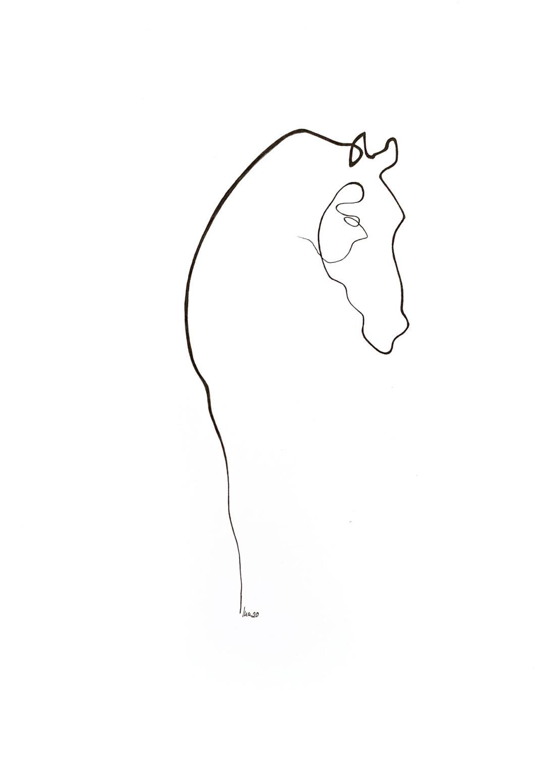 Pferd Poster Tusche